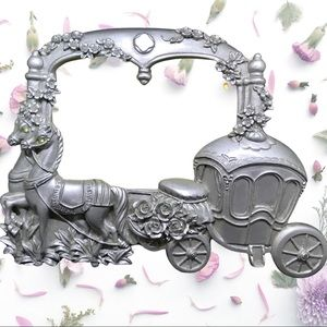 Vintage pewter horse & carriage picture frame